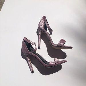 💜 Chase & Chloe crushed velvet strappy heels 6.5